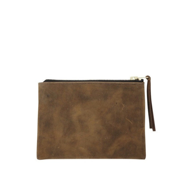 petite zippy clutch | brown