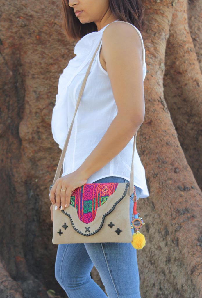 Indian Beige Suede Handbag