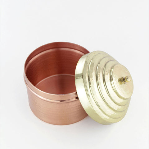 Copper heirloom jewelry box with a brass lid