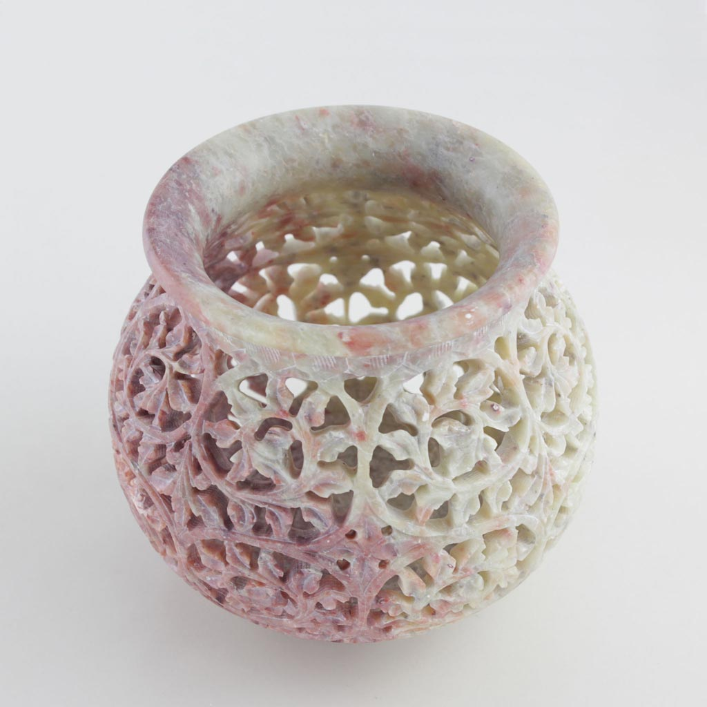 top view of a unique and handmade decorative jar in elegant soapstone
