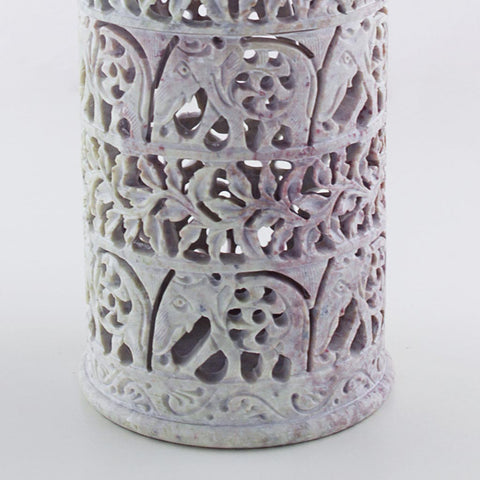 unique and beautifully handmade soapstone vase, close up of carved design