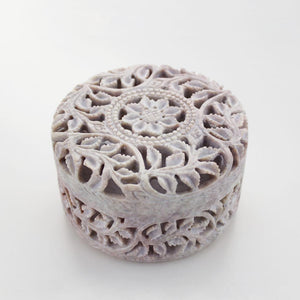 Exqusitley handmade jewelry box in soapstone