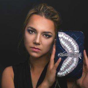 Woman Holding Night Blue - Indian Beaded Rectangular Clutch