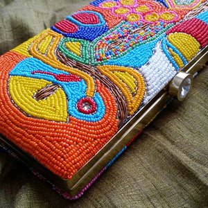 Hand Beaded Clutch Bag Side View - Meera