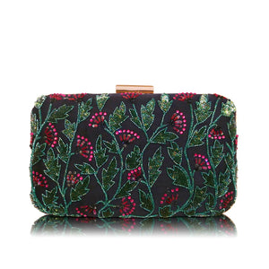 Indian Beaded Clutch - Night Flowers