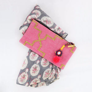 Bohochic Dhurrie Clutch in Pink styled with printed top