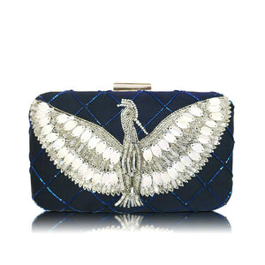 Night Blue - Indian Beaded Rectangular Clutch