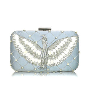 Pale Blue Indian Beaded Clutch