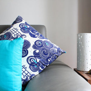 Large Indian Indigo Cushion Cover - Pillow Arrangement