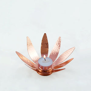 Sunflower copper tealight holder