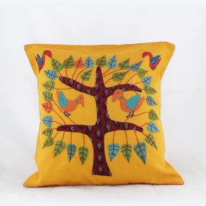 Tree of Life Yellow - Applique Cushion Cover
