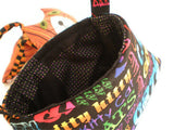Cats Print Tote Bag Purse Kitten Carrier Cat Lover's or Child's Bag Neon Rainbow Colors Words on Black Option 1 OOAK Must Have Been The Cat