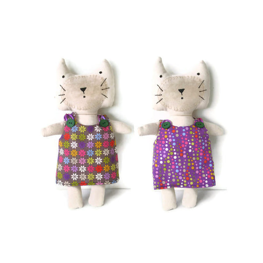 Kitten Softie Cat Doll Orange Purple Yellow Green Blue Red Pink White Dots and Flowers With Reversible Dress Cat Lovers Gift Must Have Been The Cat