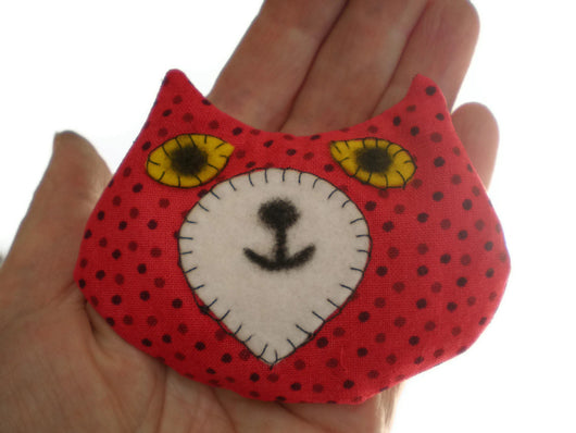 Cat Head Rice Heat Cold Pack Microwavable for Hand Pocket Boo Boos Ouchies Red with Black Spots Must Have Been The Cat