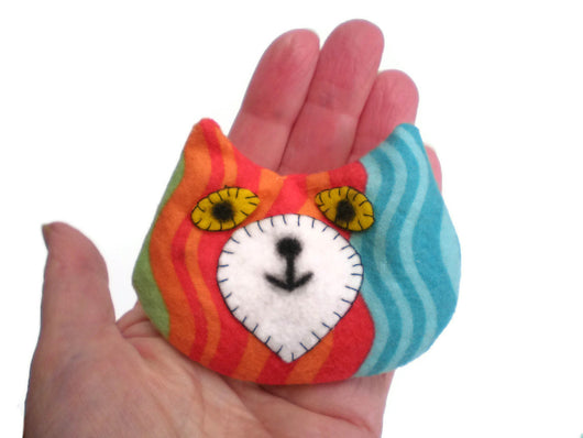 Cat Head Rice Heat Cold Pack Microwavable for Hand Pocket Boo Boos Ouchies Lime Green Orange Red Blue Makeforgood Must Have Been The Cat