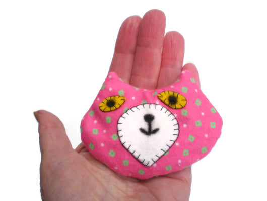Cat Head Rice Heat Cold Pack Microwavable for Hand Pocket or Kids Boo Boos and Ouchies Pink Green White Must Have Been The Cat