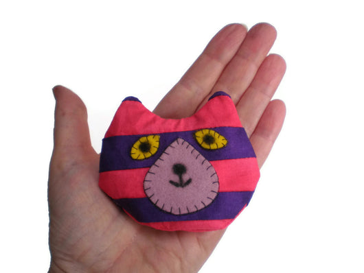Cat Head Rice Heat Cold Pack Microwavable Pink and Purple Stripe Must Have Been The Cat