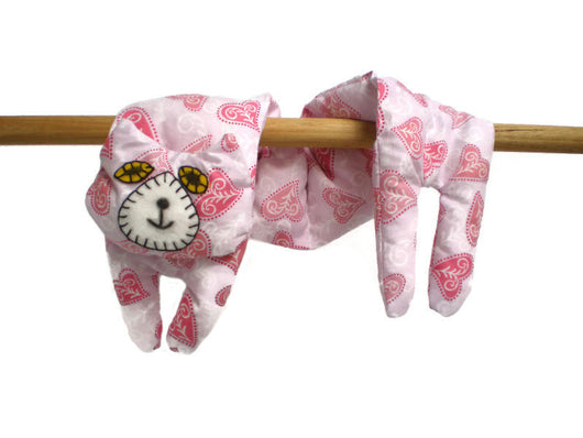 Flat Cat Rice Hot Cold Pack Microwavable Neck & Shoulders Wrap - Pink Hearts Must Have Been The Cat