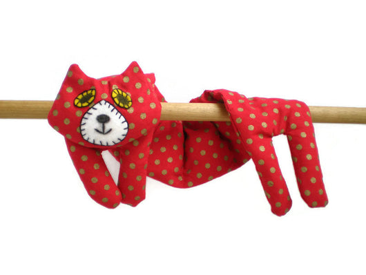 Flat Cat Rice Hot Cold Pack Microwavable Neck & Shoulders Wrap - Red with Gold Spots Must Have Been The Cat