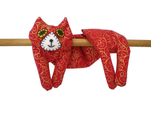 Flat Cat Rice Hot Cold Pack Microwavable Neck & Shoulders Wrap Red with Gold Swirls Must Have Been The Cat