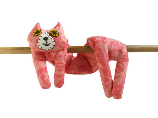 Flat Cat, Hot Cold Rice Bag, Microwave Neck Wrap, Rice Heating Pad, Hot Cold Therapy Pack, Coral Pink Must Have Been The Cat