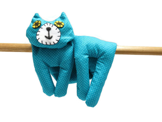 Flat Cat Rice Hot Cold Pack Microwavable Neck & Shoulders Wrap, Turquoise Blue White Spots Must Have Been The Cat