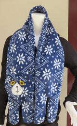 Dark Blue & White Flat Cat Fleece Scarf - Nordic Pattern - Limited Edition Must Have Been The Cat