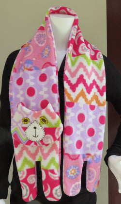 Flat Cat Fleece Scarf - Limited Edition - Pink White Orange Purple Green Patchwork Must Have Been The Cat