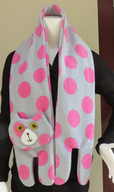 Grey Pink Spotted Flat Cat Fleece Scarf - Limited Edition Must Have Been The Cat