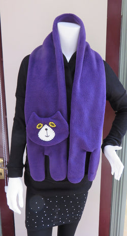 Purple Flat Cat Fleece Scarf - Limited Edition Must Have Been The Cat