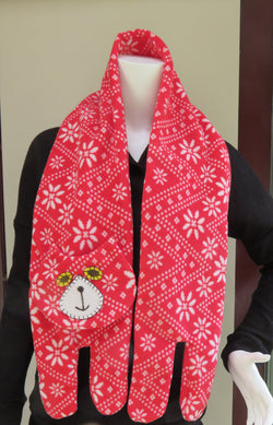 Red & White Flat Cat Fleece Scarf - Nordic Pattern - Limited Edition Must Have Been The Cat