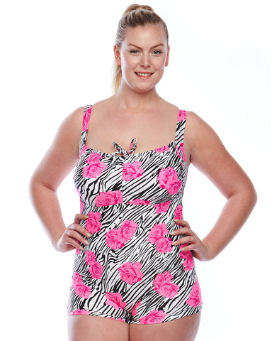 Bronte One Piece Swim Short Suit | Plus Swimwear