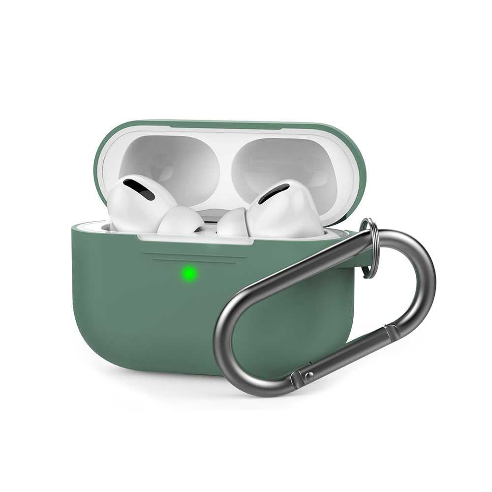 AhaStyle Full Cover Silicone Keychain Case for Airpods Pro - Midnight Green