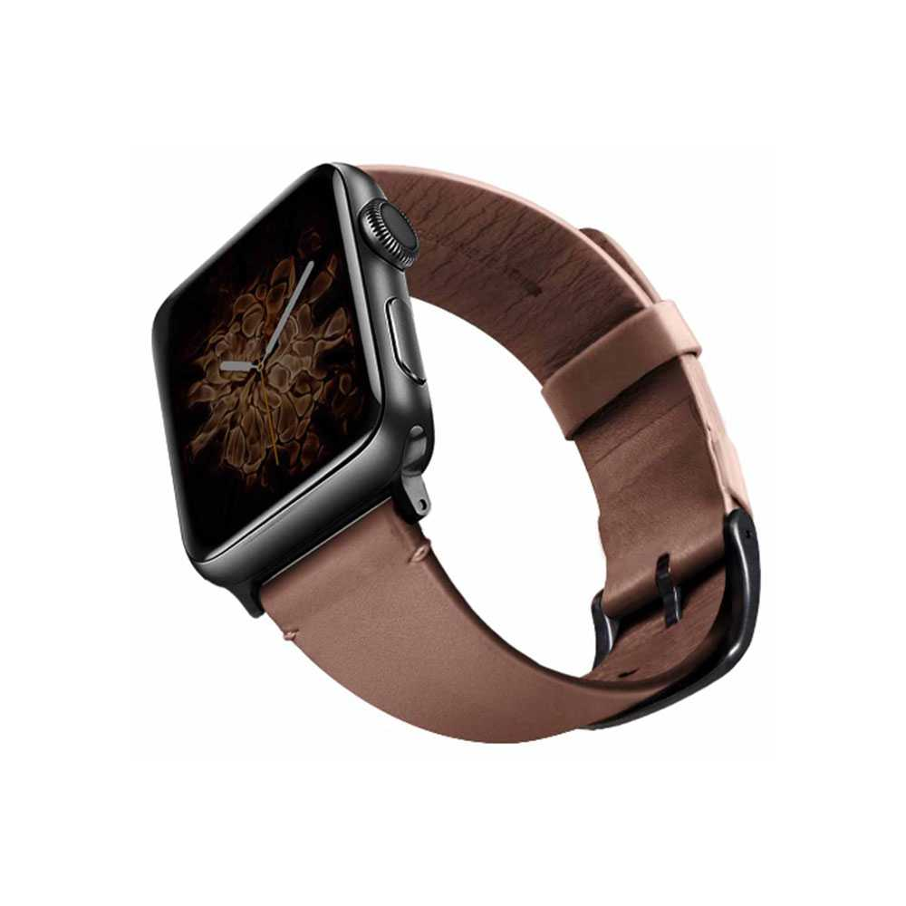 Viva Madrid Montre Vellum Leather Strap for Apple Watch 42/44MM - Dark Brown/Black