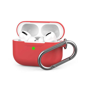 AhaStyle Full Cover Silicone Keychain Case for Airpods Pro ( Red )