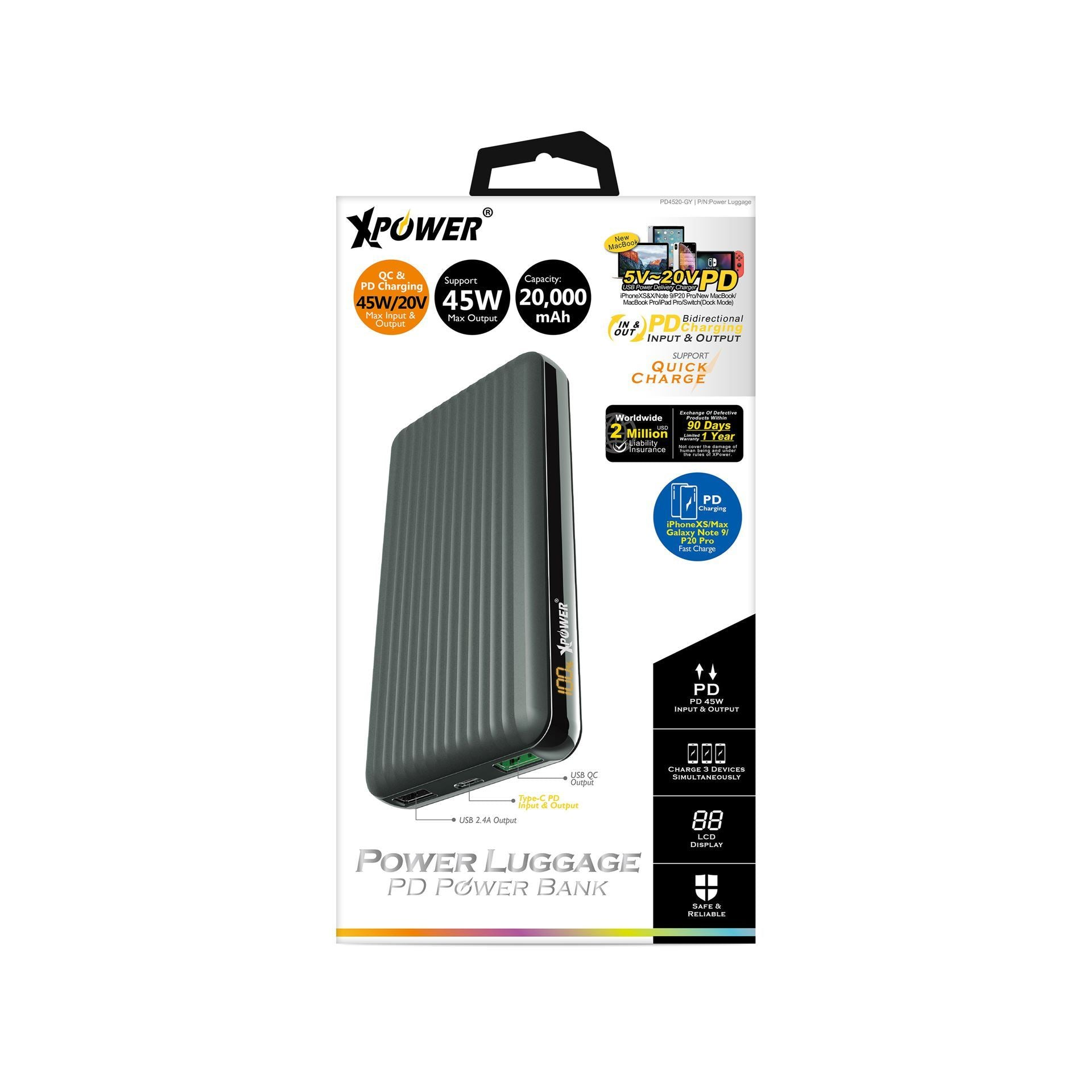 XPOWER PD4520 20000mAh 45W PD LUGGAGE POWER BANK GREY