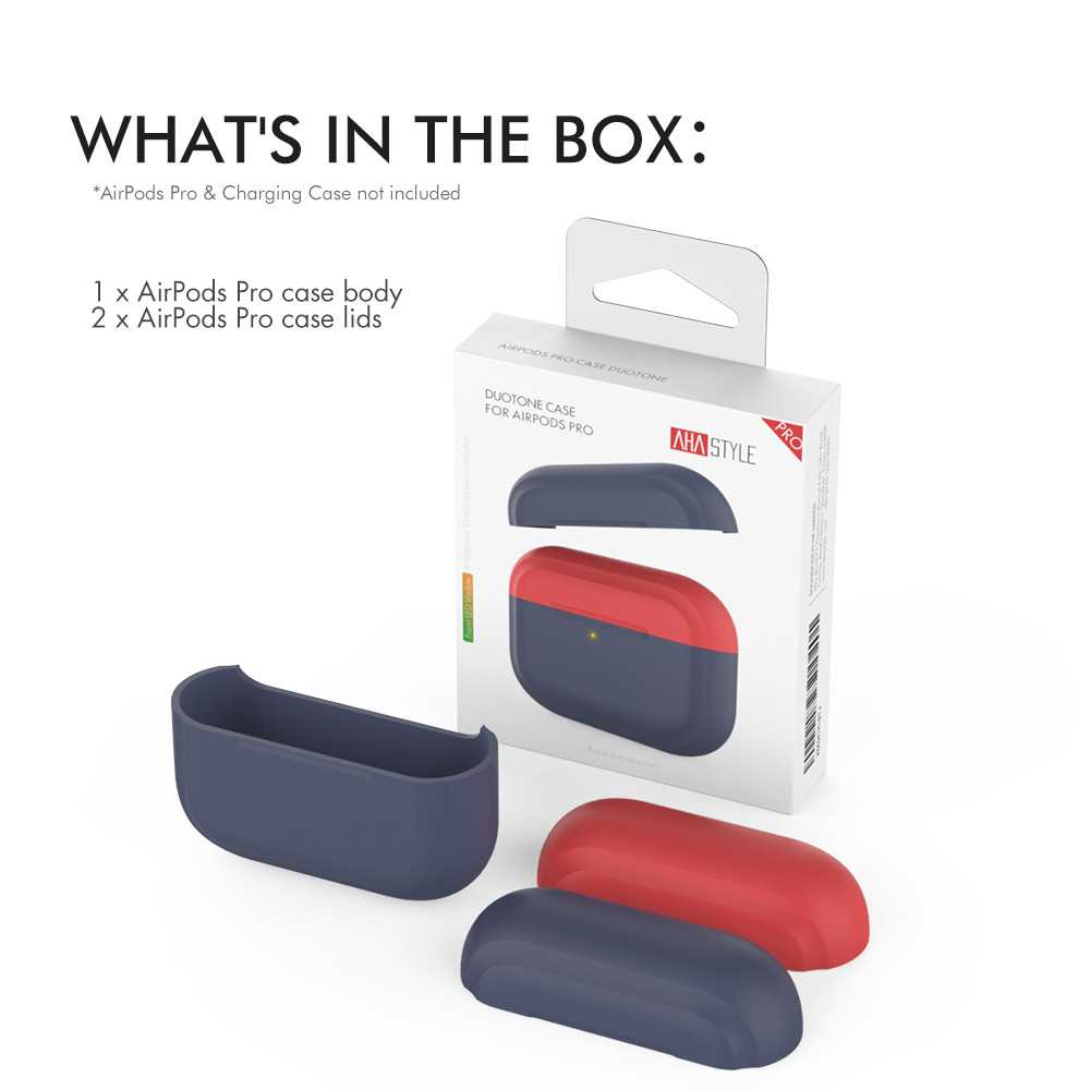 AhaStyle Premium Silicone Two Toned Case for Airpods Pro - Navy Blue/Red