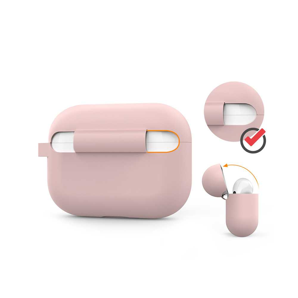 AhaStyle Full Cover Silicone Keychain Case for Airpods Pro - Pink