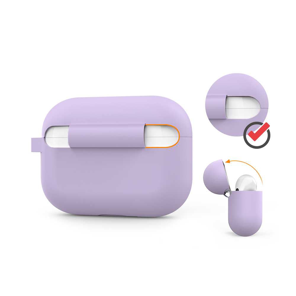 AhaStyle Full Cover Silicone Keychain Case for Airpods Pro - Lavander