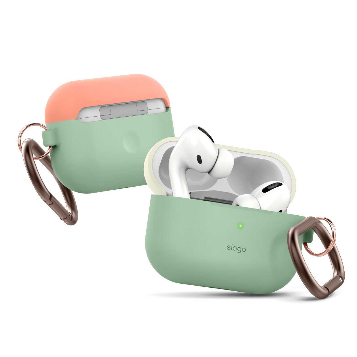 Elago Duo Hang Case for Apple Airpods Pro - Top-Classic White / Peach, Bottom-Pastel Green