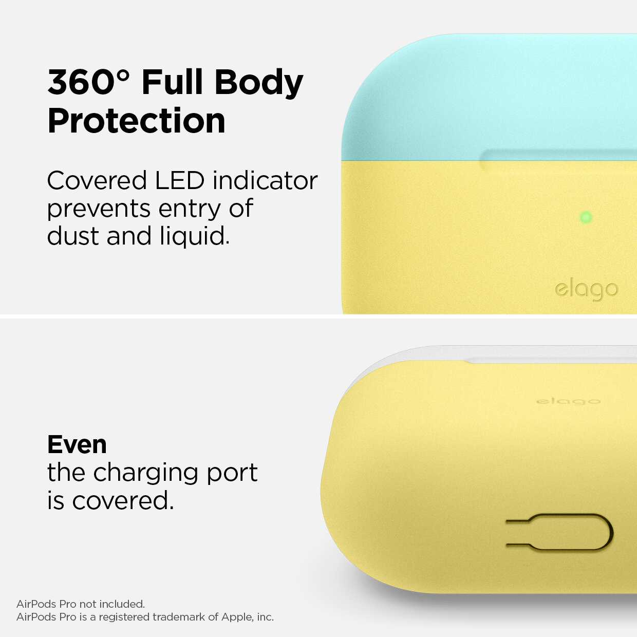 Elago Duo Hang Case for Apple Airpods Pro - Top-Coral Blue / Nightglow Blue, Bottom-Creamy Yellow