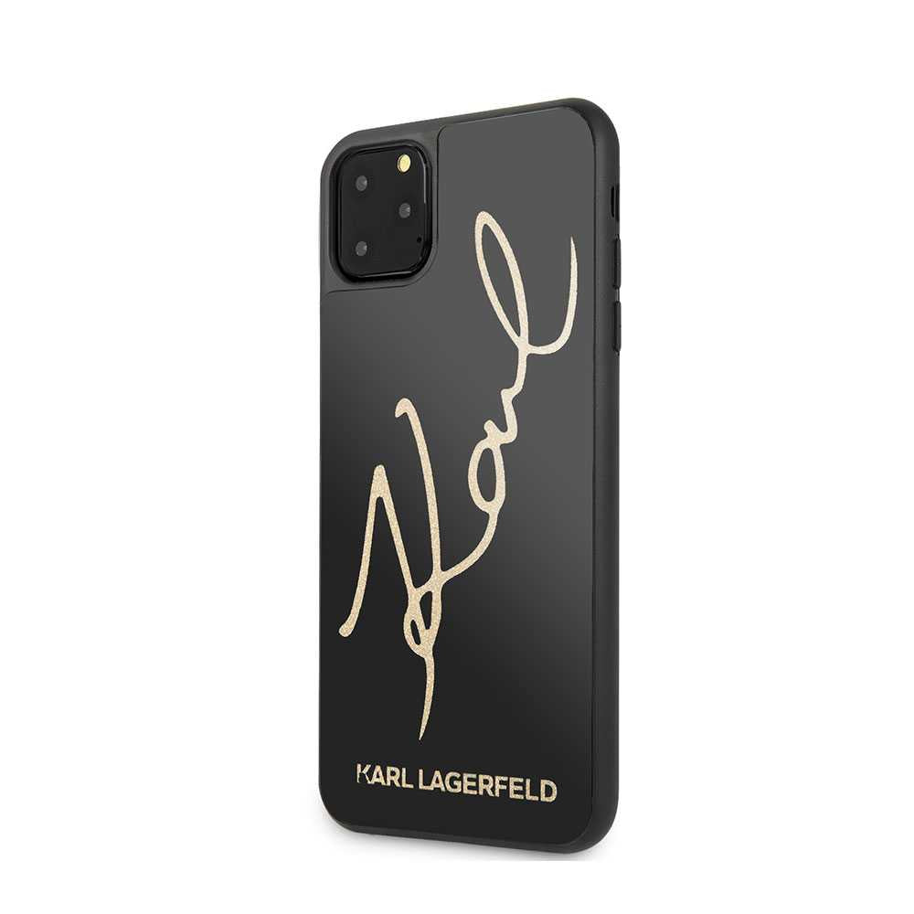 Karl Largefeld Tempered Glass Case with Glitter Sign for iPhone (2019) - Black