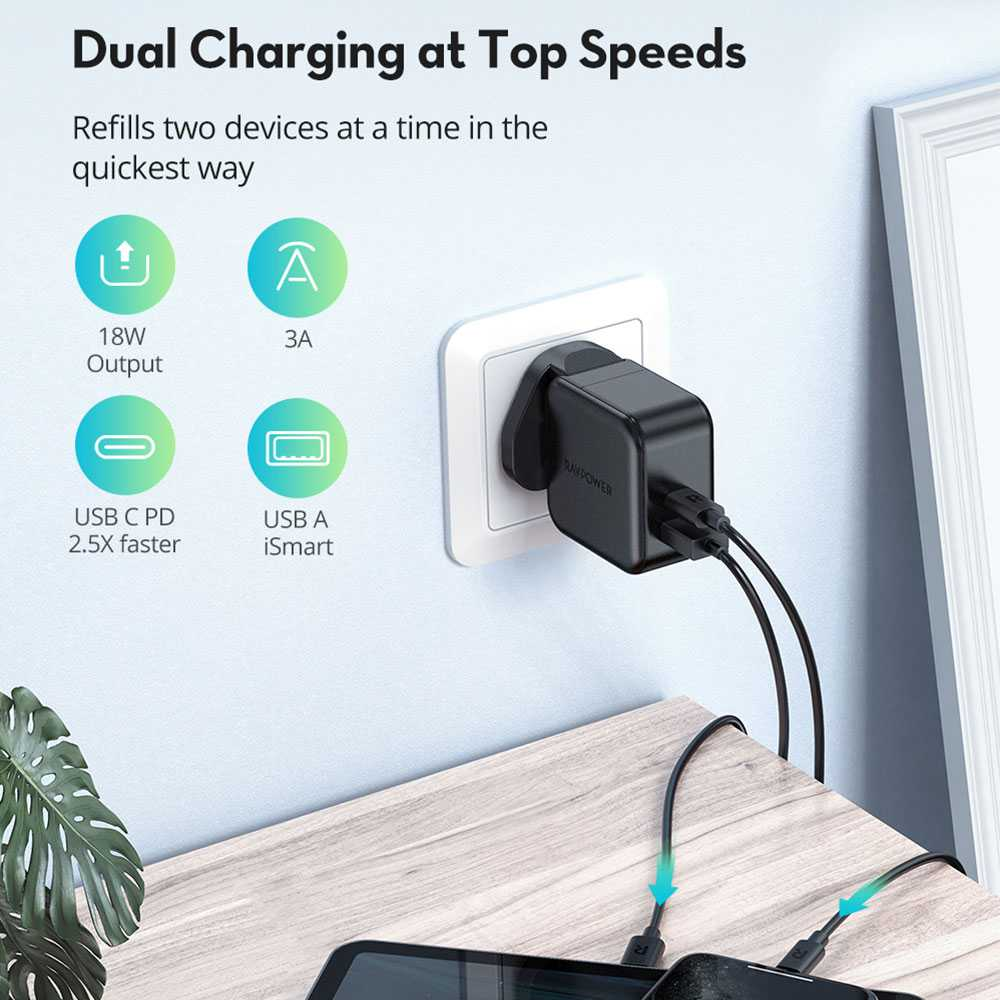 RAVPower 2-Pack PD Pioneer Wall Charger Combo 18W - Black