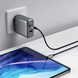 SATECHI - Wall Charger - Dual Port - 30W PD (USBC + USBA) - UK - Space Gray