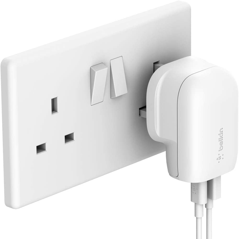 BELKIN - Wall Charger - 32W AC Charger (20W USB-C & 12W USB-A) - UK Plug - White