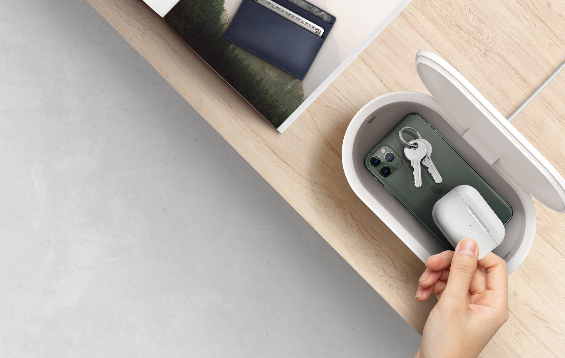 LYFRO Air Capsule UVC Disinfection Box with Fast Wireless Charging-White