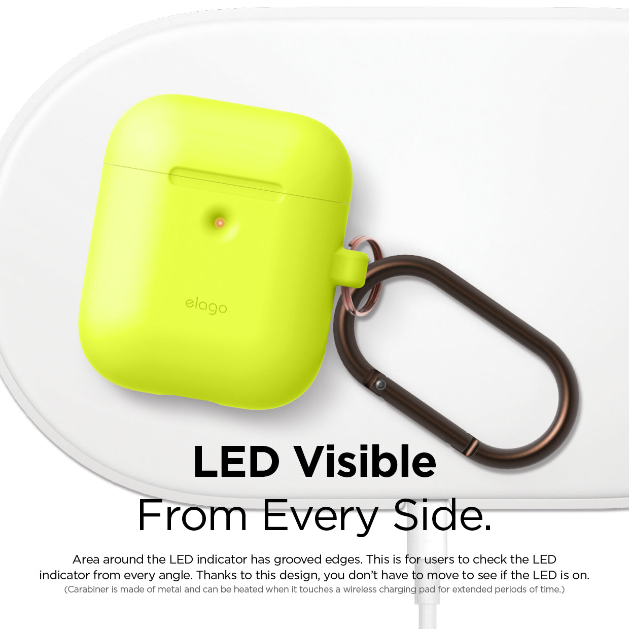 Elago 2nd Generation Airpods Silicone Hang Case - Neon Yellow