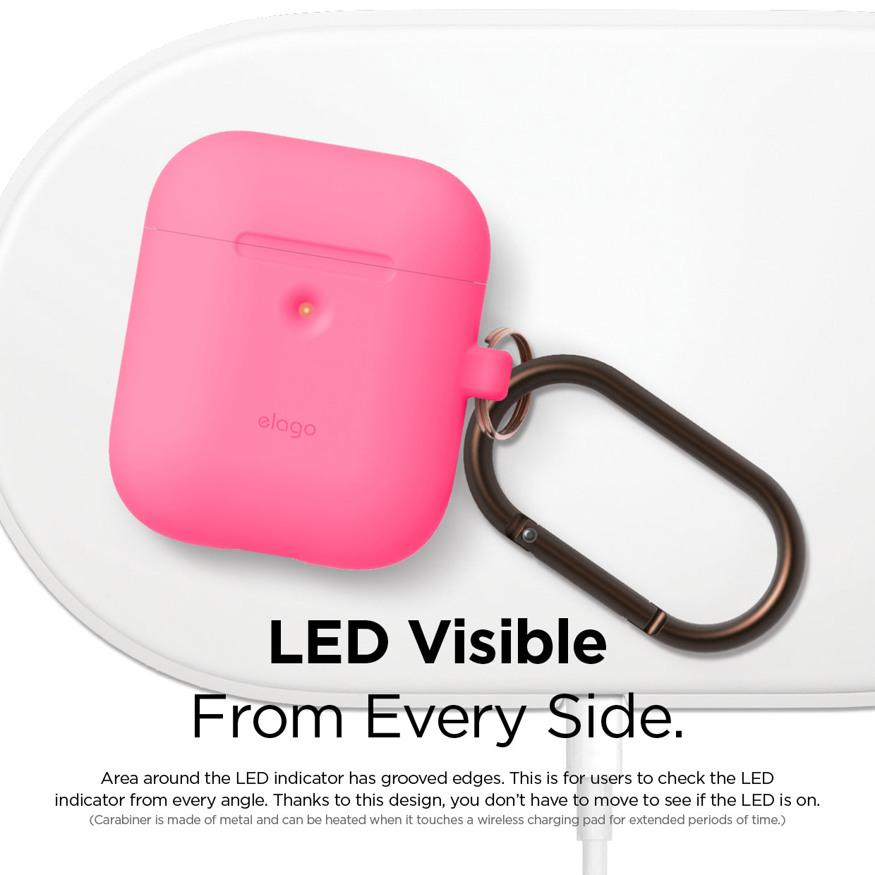 Elago 2nd Generation Airpods Silicone Hang Case - Neon Hot Pink
