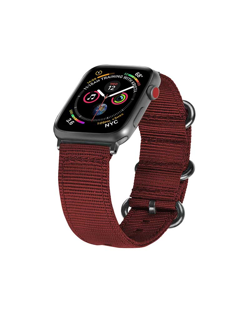 MORE.PLUS Nato Apple Watch Strap BURGUNDY