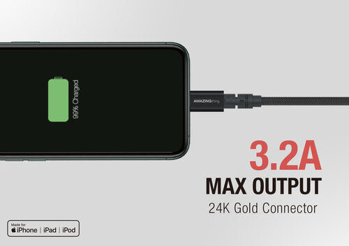 AT Supreme Link Powermax Plus Lightning Cable  (Black)